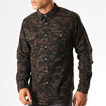 Chemise Manches Longues Camouflage York Vert Kaki Marron Noir
