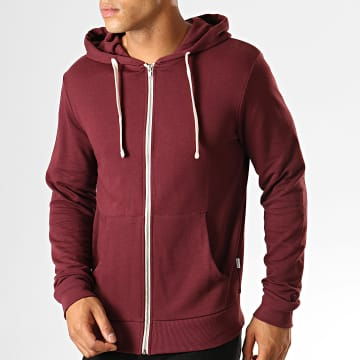 Jack And Jones - Sweat Zippé Capuche Eholmen Bordeaux