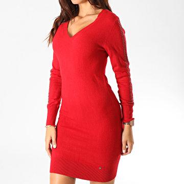 Robe Pull Col V Femme Xerah Rouge