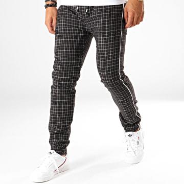 Pantalon A Carreaux Avec Bandes 5292 Noir