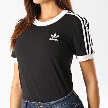 Adidas Originals - Tee Shirt Femme 3 Stripes ED7482 Noir Blanc