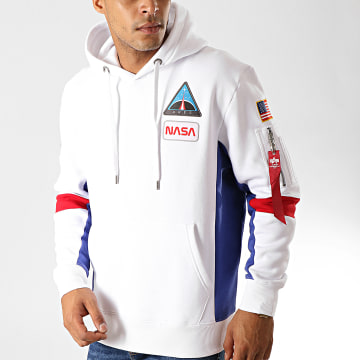 Alpha Industries - Sweat Capuche Space Camp Blanc