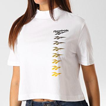Reebok - Tee Shirt Femme Crop Classics Vector EB4243 Blanc Noir Jaune