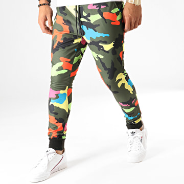 Pantalon Jogging Multicolore T3503 Vert Kaki Camouflage