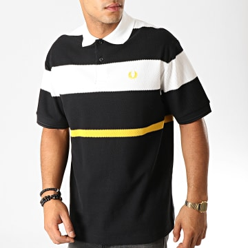 Fred Perry - Polo Manches Courtes Bold Stripe M750 Noir Blanc