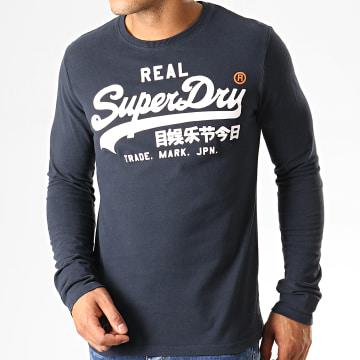 Superdry - Tee Shirt Manches Longues Vintage Logo 1ST Duo M6000019A Bleu Marine Blanc