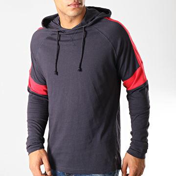 Tee Shirt Manches Longues Capuche Sutton Bleu Marine Rouge