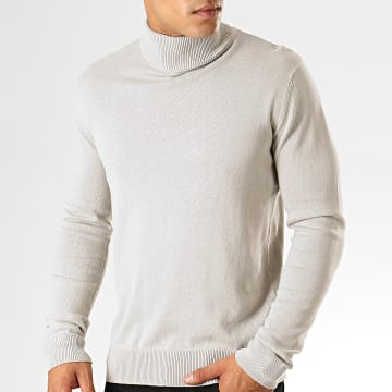 Pull Col Roulé Hume Gris Clair