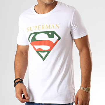 DC Comics - Tee Shirt Superman Institutional Tricolore Blanc