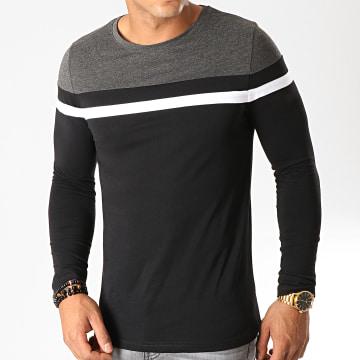 Tee Shirt Manches Longues Tricolore 820 Gris Anthracite Blanc Noir