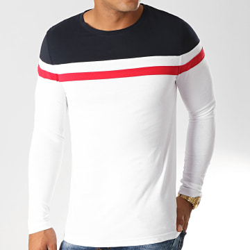 Tee Shirt Manches Longues Tricolore 819 Bleu Marine Rouge Blanc