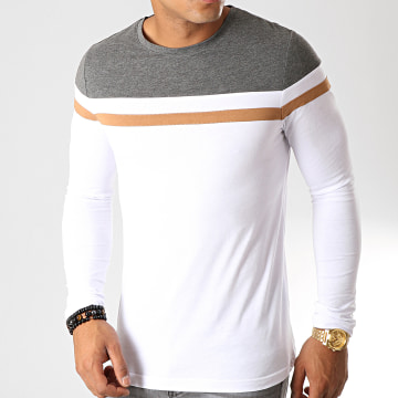 Tee Shirt Manches Longues Tricolore 844 Anthracite Blanc Camel
