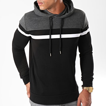 Sweat Capuche Tricolore 813 Anthracite Blanc Noir
