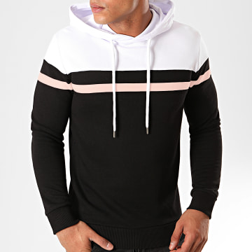 LBO - Sweat Capuche Tricolore 814 Blanc Rose Noir