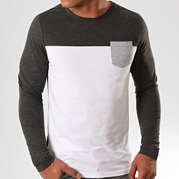 Tee Shirt Manches Longues Avec Poche 899 Anthracite Chiné Blanc