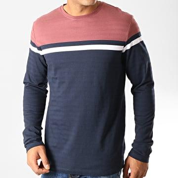 Esprit - Tee Shirt Manches Longues 089EE2K018 Bleu Marine Rouge Brique