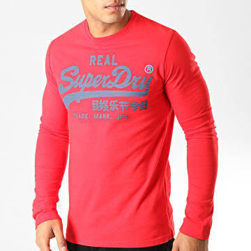 Superdry - Tee Shirt Manches Longues Vintage Logo 1st Duo M6000019A Rouge