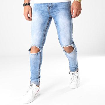 Jean Skinny Troué BO10 Bleu Wash