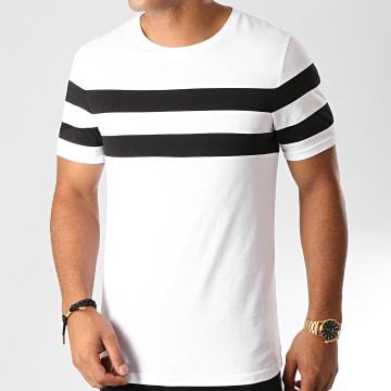 Tee Shirt Avec Bandes Bicolore 911 Noir Blanc