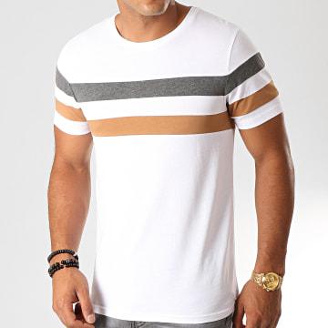Tee Shirt Avec Bandes Tricolore 904 Anthracite Camel Blanc