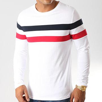 Tee Shirt Manches Longues Avec Bandes Tricolore 906 Bleu Marine Rouge Blanc