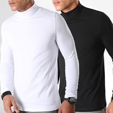 Lot De 2 Tee Shirt Col Roulé Manches Longues Uni 892 Noir Et Blanc