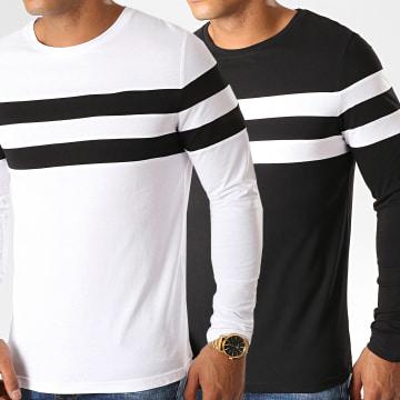 Lot de 2 Tee Shirt Manches Longues Avec Bandes Bicolore 933 Noir Et Blanc