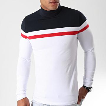 Tee Shirt Col Roulé Manches Longues Tricolore 889 Blanc Bleu Marine Rouge