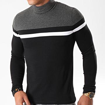 Tee Shirt Col Roulé Manches Longues Tricolore 890 Noir Anthracite Blanc
