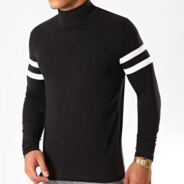 Tee Shirt Col Roulé Manches Longues Avec Bandes Blanches 891 Noir