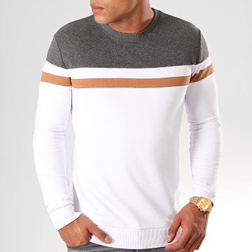 Sweat Crewneck Tricolore 845 Anthracite Blanc Camel