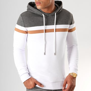 Sweat Capuche Tricolore 843 Blanc Anthracite Camel