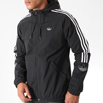 Adidas Originals - Veste Zippée Capuche A Bandes Outline Trefoil ED4688 Noir Blanc