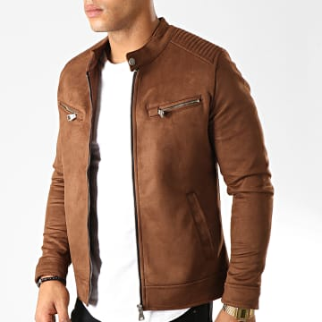 Black Needle - Veste Zippée Suédine B-9002 Marron