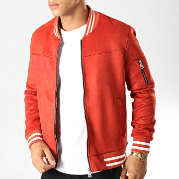 Black Needle - Bomber Suédine B-9001 Rouge Blanc
