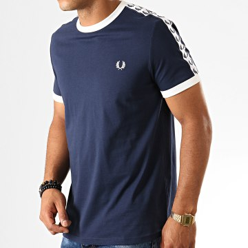 Fred Perry - Tee Shirt A Bandes Taped Ringer M6347 Bleu Marine