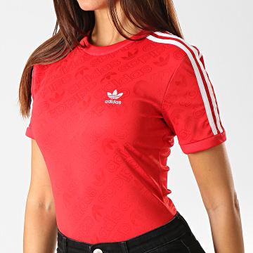 Adidas Originals - Body Tee Shirt Femme Avec Bandes ED7506 Rouge Blanc