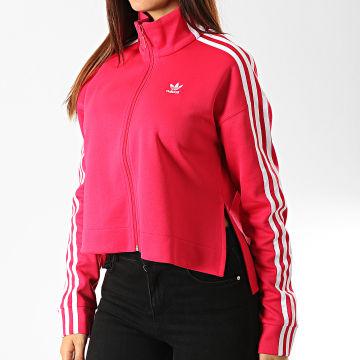 Adidas Originals - Veste Zippée Crop Femme A Bandes ED4755 Rose Fushia Blanc