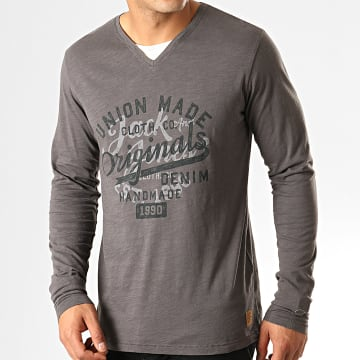 Jack And Jones - Tee Shirt Manches Longues Gaston Gris Anthracite