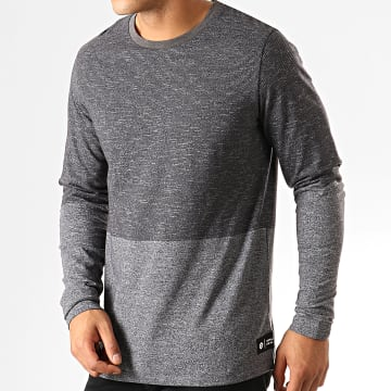 Jack And Jones - Tee Shirt Manches Longues Signs Gris Anthracite Chiné