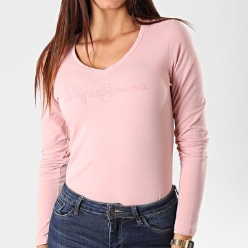 Tee Shirt Slim Femme Manches Longues Mackenzie Rose