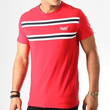 Superdry - Tee Shirt Orange Label Herringbone Stripe M1000018A Rouge Blanc Noir