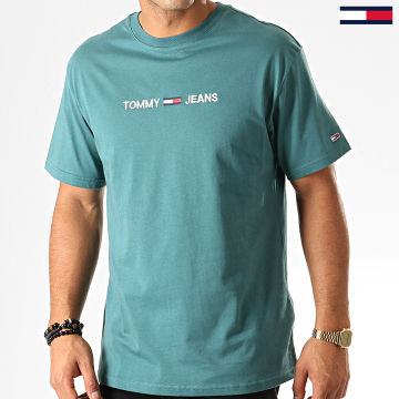 Tommy Jeans - Tee Shirt Small Logo 7231 Bleu Tuquoise
