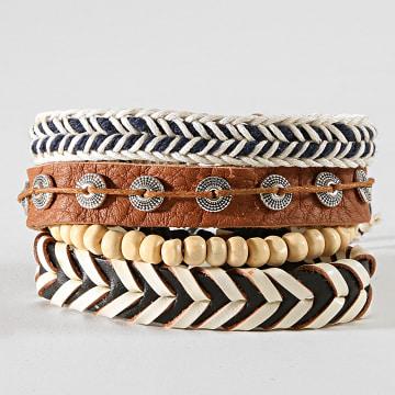 Deeluxe - Lot De 4 Bracelets Apache Blanc Marron