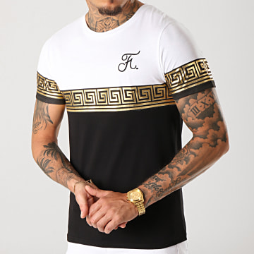 Tee Shirt Renaissance Avec Broderie 244 Noir Blanc Doré