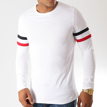 LBO - Tee Shirt Manches Longues Avec Bandes Tricolore 886 Blanc