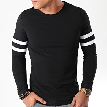 Tee Shirt Manches Longues Avec Bandes Blanches 887 Noir