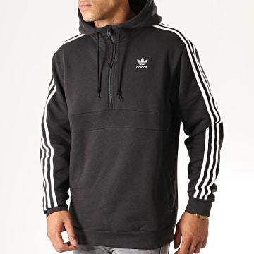 Adidas Originals - Sweat Zippé Capuche A Bandes ED6050 Noir Blanc