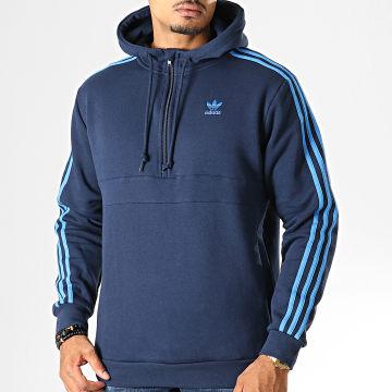 Sweat Col Zippé Capuche A Bandes 3 Stripes EK0255 Bleu Marine
