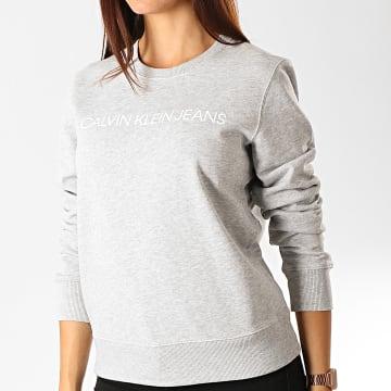 Calvin Klein - Sweat Crewneck Femme 9761 Gris Chiné